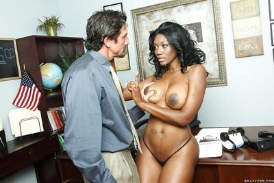 Ebony MILF babe with big hooters Nyomi Banxx fucking a huge cock