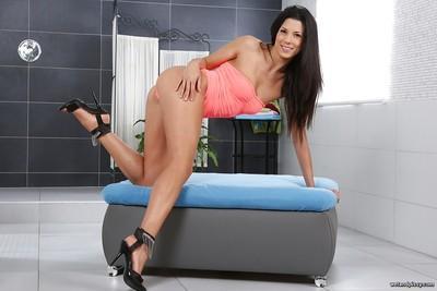Latina solo girl Alexa Tomas soaks her panties with warm pee