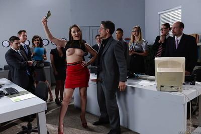 Milf babes Monique Alexander is sucking big cock of her coworker