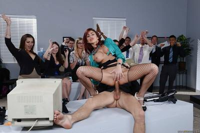 Milf babes Monique Alexander is sucking big cock of her coworker