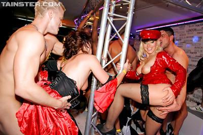 Arousing sluts getting drunk and going wild at the carnival party