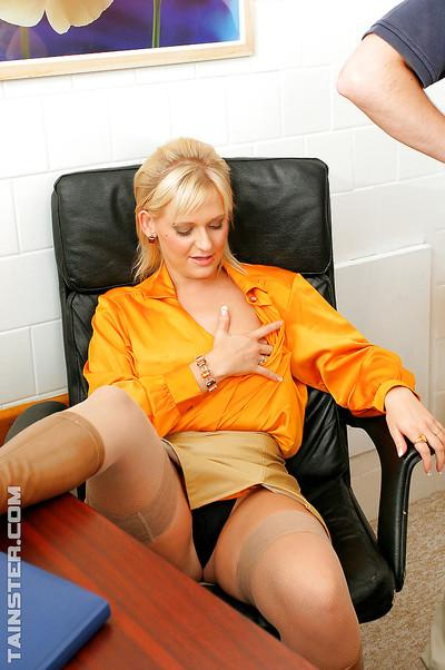 Jizz starving MILFs enjoy a wild fully clothed orgy with their office mates