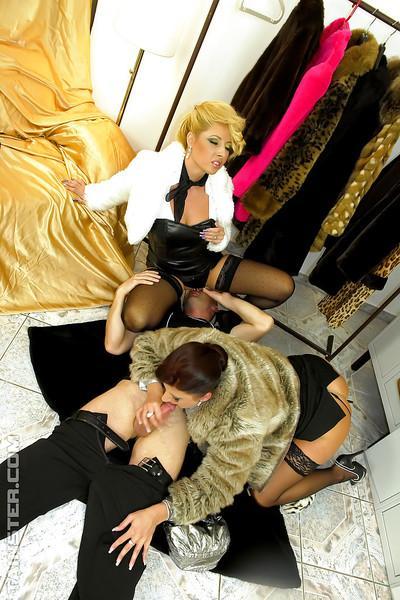 Lusty MILFs Celine Noiret & Daria Glower are into hot CFNM action