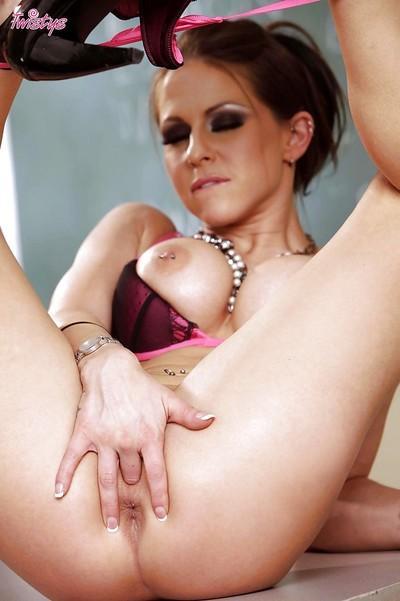 Naughty & busty teacher Rachel Roxxx toying with her spread pussy-lips