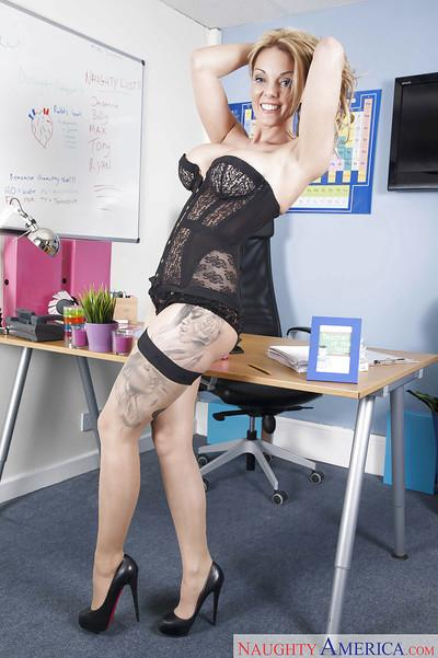 European MILF teacher Stacey Saran strips down to stocking for babe spread