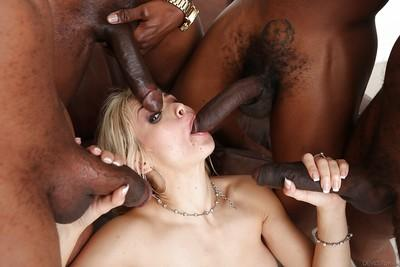 Slutty white chick Sarah Vandella gangbanged by plethora of black cock