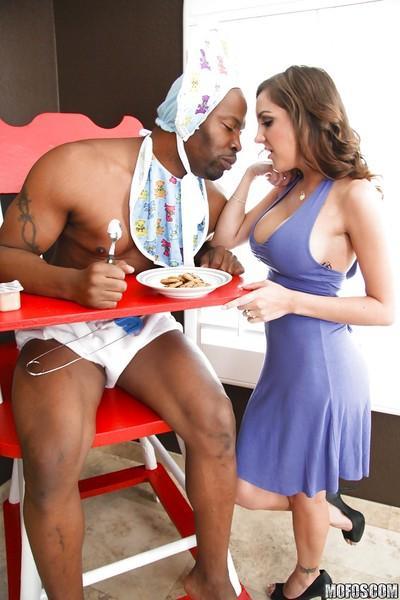 Salacious MILF with big jugs Kiera King sucks and fucks a big black cock