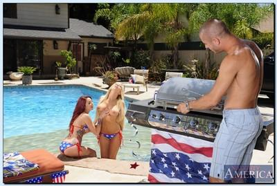 Busty knockouts have a great threesome pool party with a hung lad