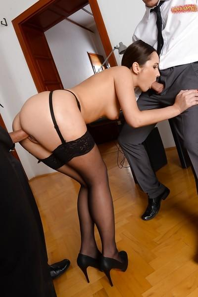 Stocking and garter attired Euro MILF Angie Moon receiving hardcore DP
