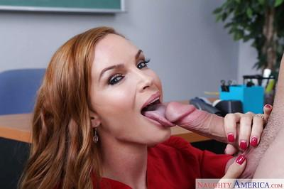 Redhead teacher Diamond Foxxx licks student