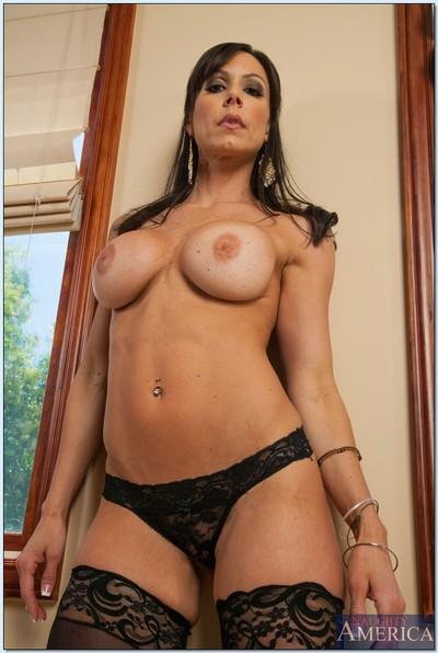 Sexy MILF in stockings Kendra Lust stripping and spreading her legs
