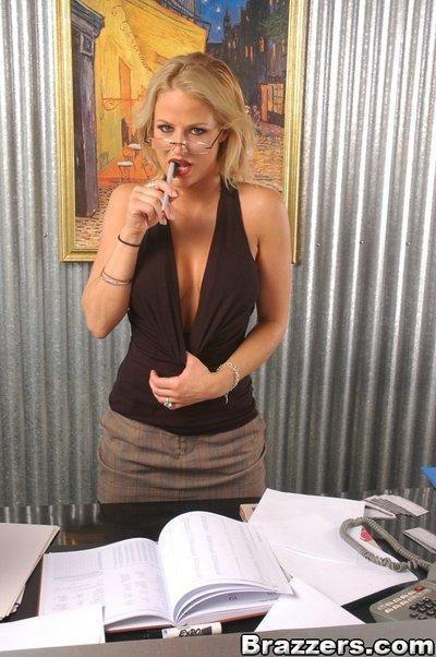 Sexy office secretary Brooke Belle strips and rubs her wet MILF pussy