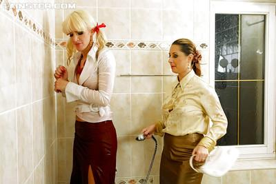 Daria Glower & Bella Morgan have some wet fully clothed fun in the bath