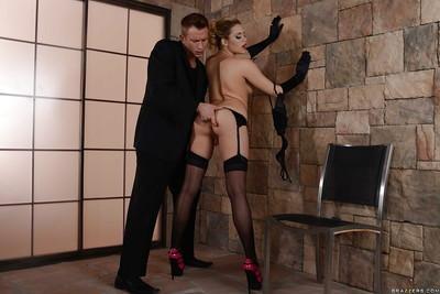 Glamorous girl in stockings Mia Malkova gets banged hard and facialized