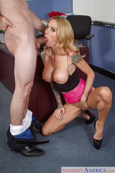 Milf teacher with tattooed arms Sarah Jessie gets shaved cunt battered