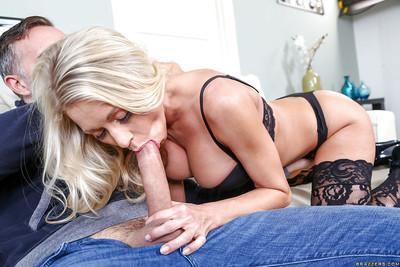 Leggy blonde mom Katie Morgan taking cum on face in black stockings