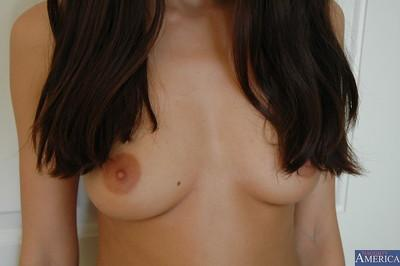 Fabulous brunette babe from Europe Jamie Huxley undressing