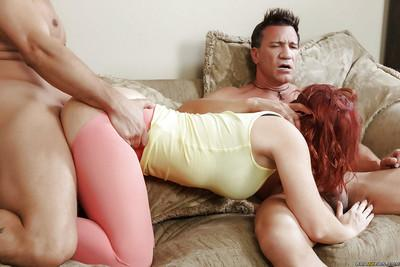 Big butt redhead Sophia Locke gets spit roasted by two hung cocks
