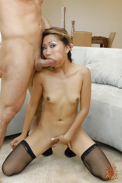 Refreshing Asian milf in stockings Lana Croft has anal rampage