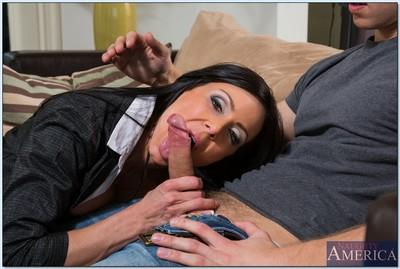 Kendra Lust gives a sensual blowjob and gets her shaved pussy shafted