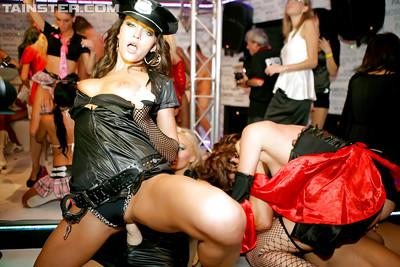 Lecherous gals getting fucked hardcore at the wild carnival party