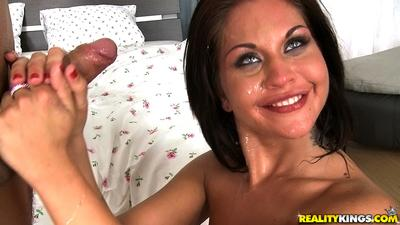 Sweet brunette amateur Bianca is sucking one hard dick and eating sperm