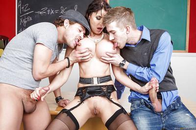 European milf babe Eva Karera is sucking cock of her students