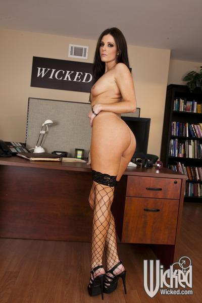Seductive MILF in fishnet stockings India Summer stripping in the office