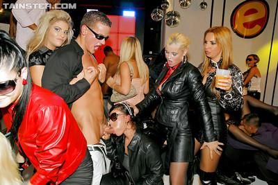 Euro party girls deepthroating cock and swallowing cum in sunglasses