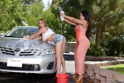 Latina lesbians Kianna Dior and Kiara Mia wash car and show their bodies