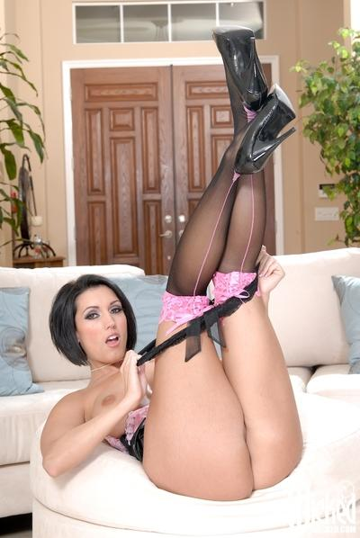 Sexy babe in housemade uniform Dylan Ryder spreading her legs
