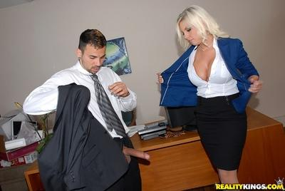 Luscious MILF Britney Amber disrobes and fucks in the office