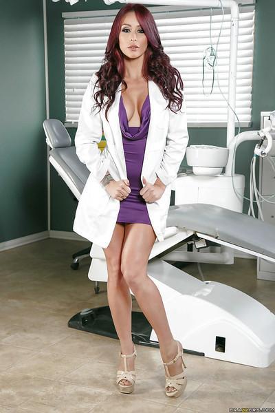 Big boobed nurse Monique Alexander flashing upskirt undies at work