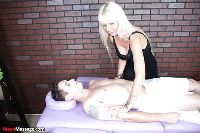 Fully clothed blonde chick gives CBT massage to eager cock
