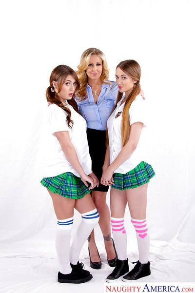 MILF Julia Ann fucks naughty schoolgirls Samantha Hayes and JoJo Kiss