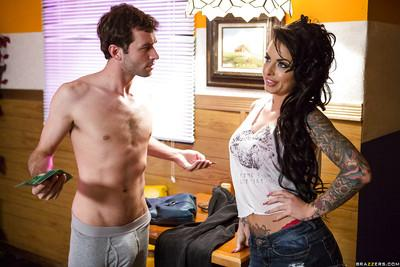 Glamorous tattooed brunette with perfect round tits blows and fucks a big cock