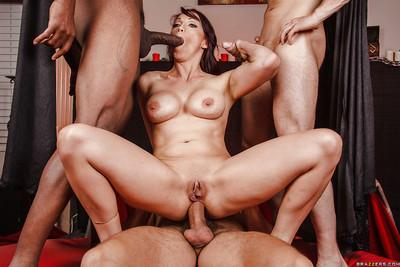 Busty MILF Nicki Hunter has a wild groupsex with well-hung guys