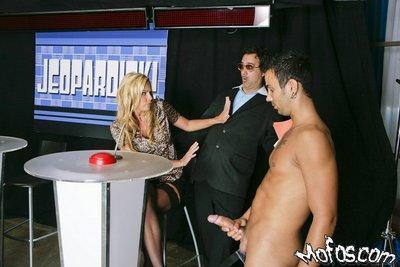 MILF pornstar in black stockings Nicole Sheridan fucking on a TV show