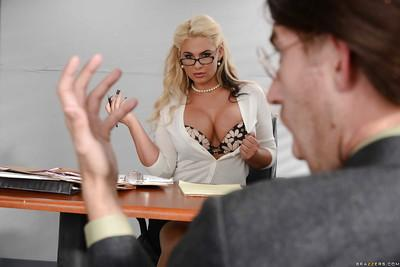 Nerdy blonde MILF Phoenix Marie swallowing cum from long dick