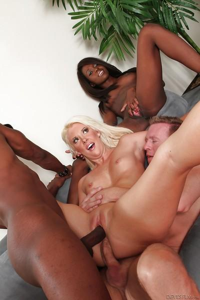 Naughty black and white girls getting nailed by huge black and white cocks