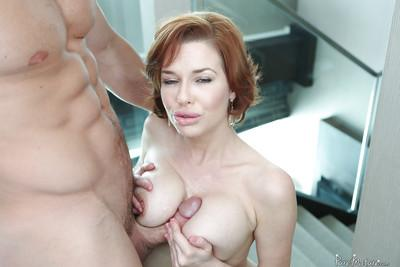 Horny housewife Veronica Avluv enjoying tit fucking and cum dripping face