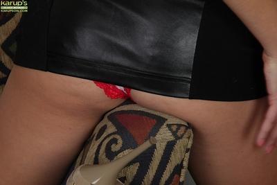 Upskirt posing scene featuring big tits brunette milf Elle Perkins