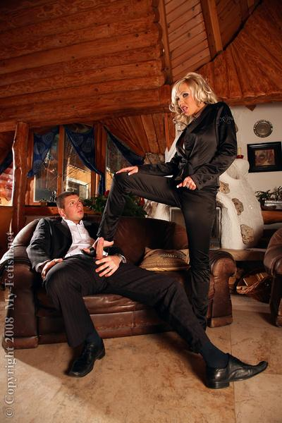 Fetish blonde MILF enjoys passionate partly clothed sex with a hung lad