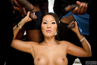 Horny Asian slut Asa Akira getting blowbanged by black cocks