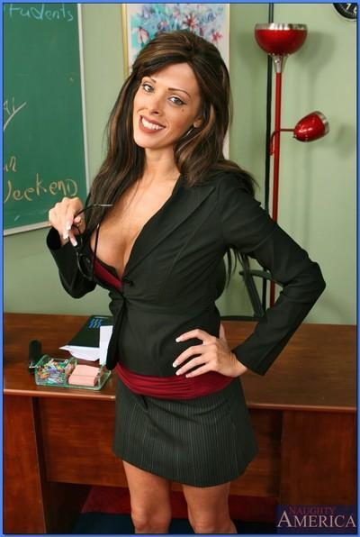 Adorable MILF teacher Arianna LaBarbara stripping for softcore shots