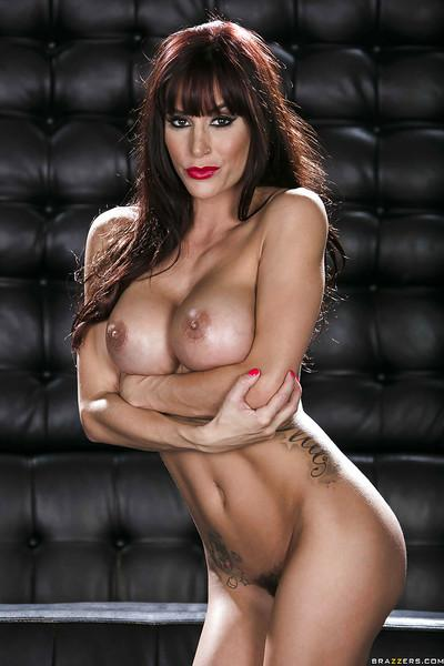 Seductive pornstar Gia Dimarco stripping off her latex dress