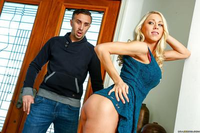 Blonde cougar Katie Morgan using perfect ass and long legs to seduce man