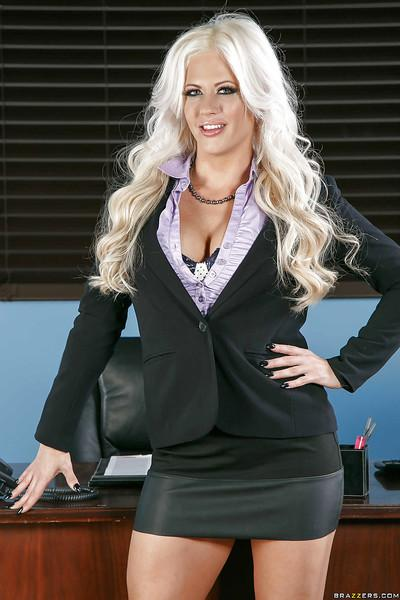 Chunky blonde secretary Holly Heart showing off legs in short skirt