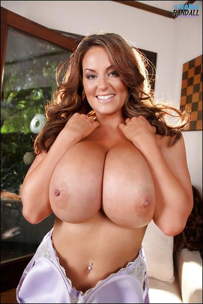 Marvellous pornstar with big tits Sarah is showing you her melons