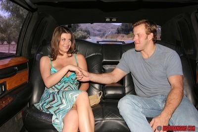 Deep-bosomed MILF Sara Stone gets her pussy licked and gives head in the car